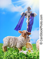 the cross and lamb as symbol of easter - Jesus Christ on the...