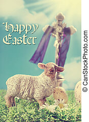 vintage greeting card with the cross and lamb as symbol of...