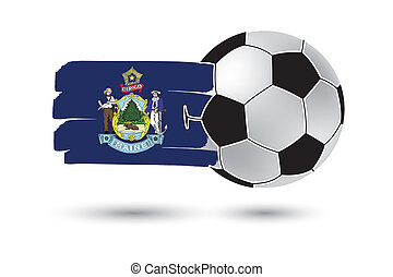Soccer ball and Maine State Flag with colored hand drawn...