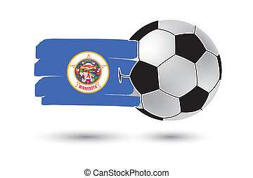 Soccer ball and Minnesota State Flag with colored hand drawn...