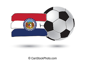 Soccer ball and Missouri State Flag with colored hand drawn...