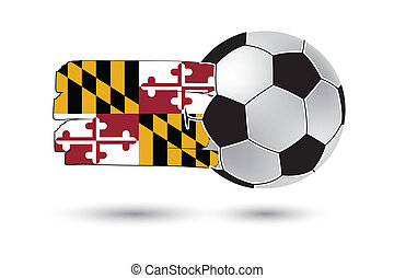 Soccer ball and Maryland State Flag with colored hand drawn...
