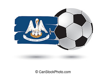 Soccer ball and Louisiana State Flag with colored hand drawn...