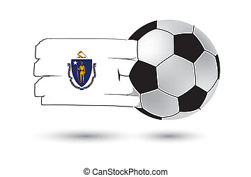 Soccer ball and Massachusetts State Flag with colored hand...