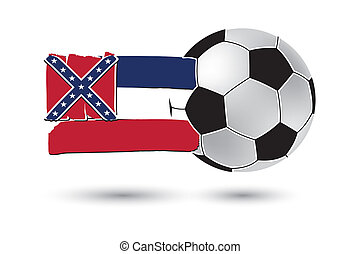 Soccer ball and Mississippi State Flag with colored hand...