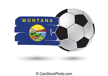 Soccer ball and Montana State Flag with colored hand drawn...