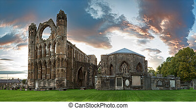 Elgin Cathedral - A panorama of the ruins of Elgin Cathedral...