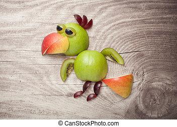 divertido, pollo, hecho, de, manzana, y, uva, en, de madera,...