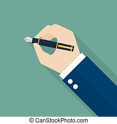 Hand writing with fountain pen Vector illustration