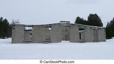 Ruins of old mill in Rockwood Conservation Area in Ontario,...