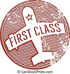 First Class Travel Stamp - vintage style first class airline...