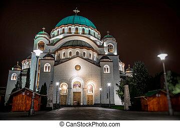 St. Sava Cathedral at night. Belgrade, Serbia.