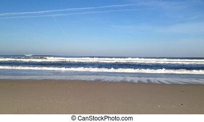 Sea waves on sand - Beautiful beach with ocean sea crashing...