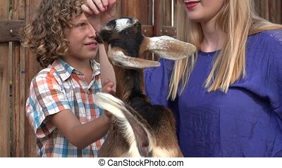 Young Boy Petting Goat