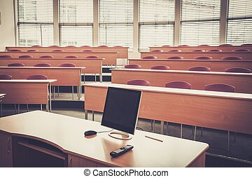 un, vacío, colegio, conferencia, vestíbulo, en, university.,...