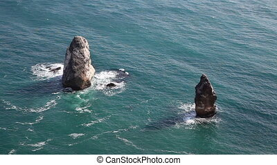 Rocky Coastal Cliffs in the Sea