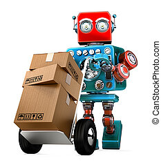 Retro Robot pushing a hand truck with boxes. Isolated. Contains clipping path