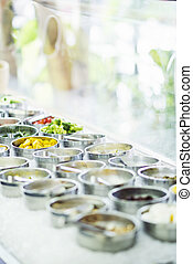 salad bar buffet fresh mixed vegetables display in...