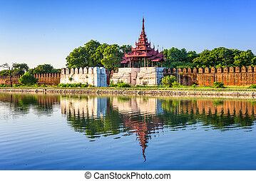 Mandalay Palace - Mandalay, Myanmar at the palace wall and...