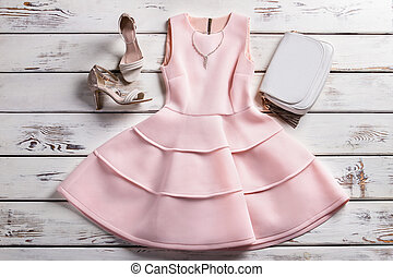 Dress with footwear and jewelry. Tailor-made clothes on...