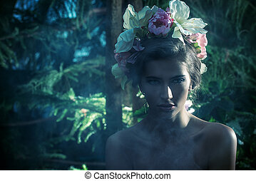 mysterious fairy - Sensual spring lady in a wreath of...