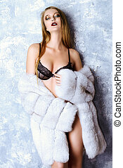 fur coat and lingerie