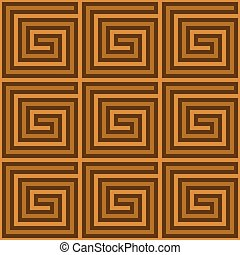 Seamless, Illustrated Tile with Greek Spirals in Shades of Brown. Vector EPS8