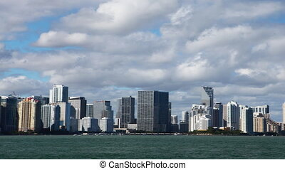 Miami skyline, a timelapse view - A Miami skyline, a...
