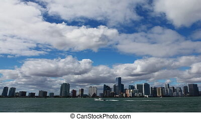 Miami skyline view, a timelapse - A Miami skyline view, a...