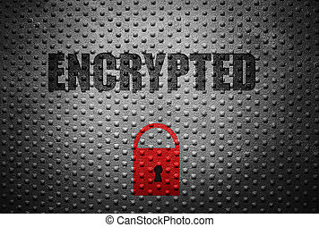 Encrypted data concept - Encrypted text and red lock over...