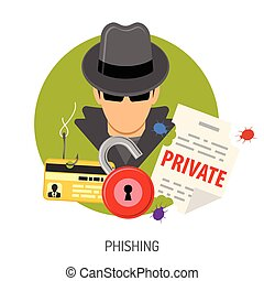 Phishing Concept Icons - Cyber Crime Concept with Flat Icons...