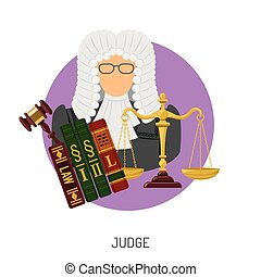 Judge Icon with Scales and Gavel - Crime and Punishment...