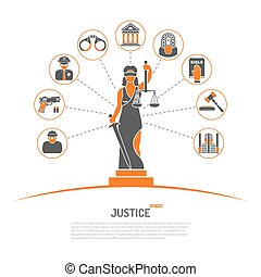 Lady Justice Concept - Concept with Lady Justice Statue and...