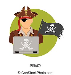 Piracy Concept with Pirate Icon - Piracy Vector Concept with...