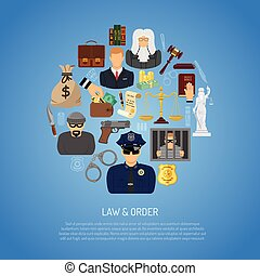 Law and Order Concept with Flat Icons for Poster, Web Site,...