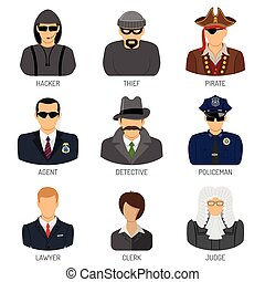 Set Characters of Criminals and Law Enforcers - Set Vector...