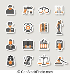 Crime and Punishment Icons Sticker Set - Set Crime and...