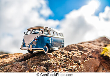 Travelling vintage camper van Macro photo