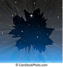 bright star through smashed window