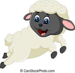 Cute cartoon sheep character - illustration of Cute cartoon...