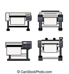 trazador, iconos, Conjunto, en, blanco, fondo., vector,
