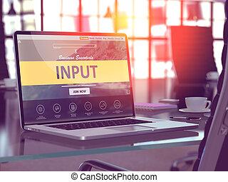 laptop, schermo, con, ingresso, Concept.,