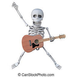 3d Skeleton dances with his acoustic guitar - 3d render of a...