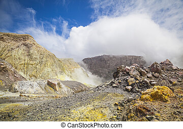 Active Volcano at  White Island New  Zealand