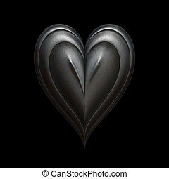 dark heart - iron heart on black background lit in low key...
