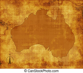 australia map - a large image of old and worn map of...