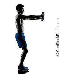 man exercising fitness weights silhouette