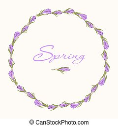 crocus wreath 3 - Greeting card with hand drawn crocus...