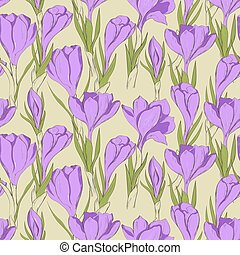 crocus seamless patterm 2 - Seamless pattern with hand drawn...