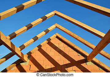 Roof frame rafters. Building a new house.